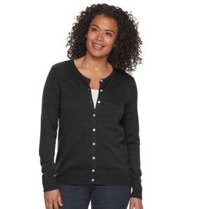 Worthington Black Button Front Cardigan